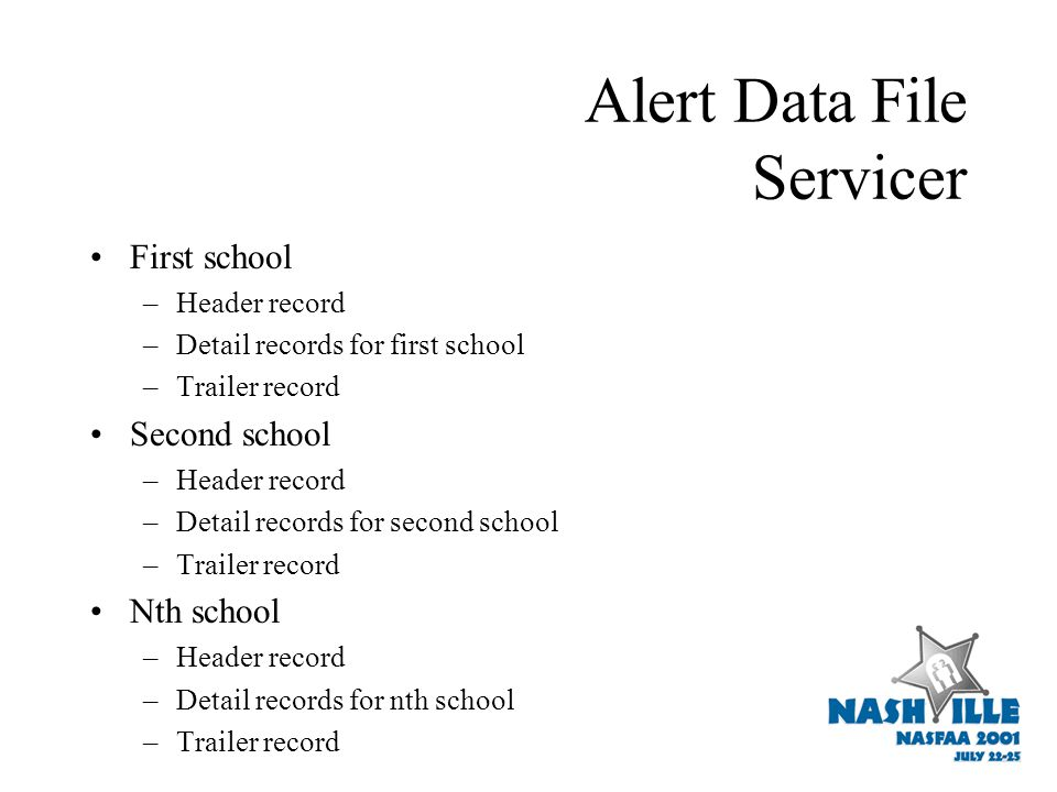 Alert Data File Servicer First school –Header record –Detail records for first school –Trailer record Second school –Header record –Detail records for second school –Trailer record Nth school –Header record –Detail records for nth school –Trailer record