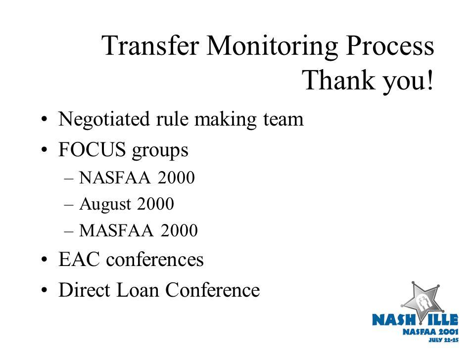 Transfer Monitoring Process Thank you.