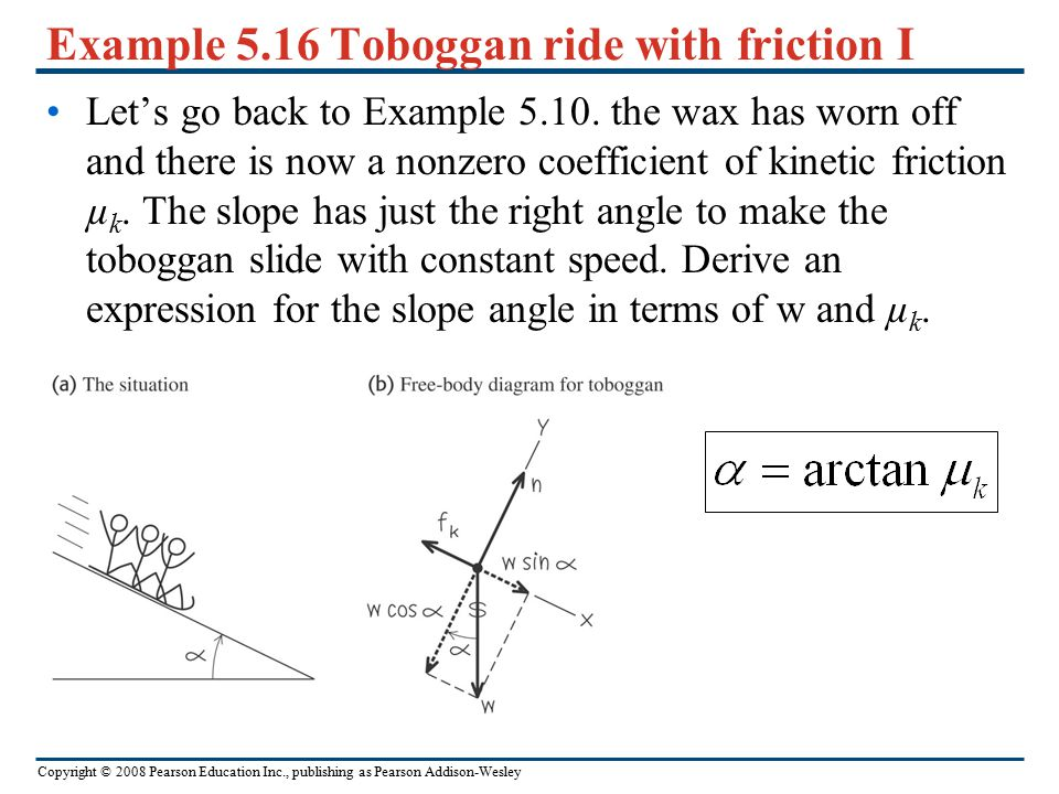 Copyright © 2008 Pearson Education Inc., publishing as Pearson Addison-Wesley Example 5.15 Minimizing kinetic friction In Example 5.13, suppose you tr