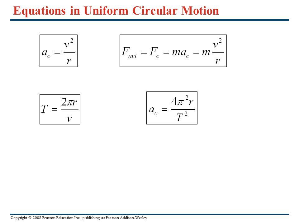 Copyright © 2008 Pearson Education Inc., publishing as Pearson Addison-Wesley The dynamics of uniform circular motion In uniform circular motion, both