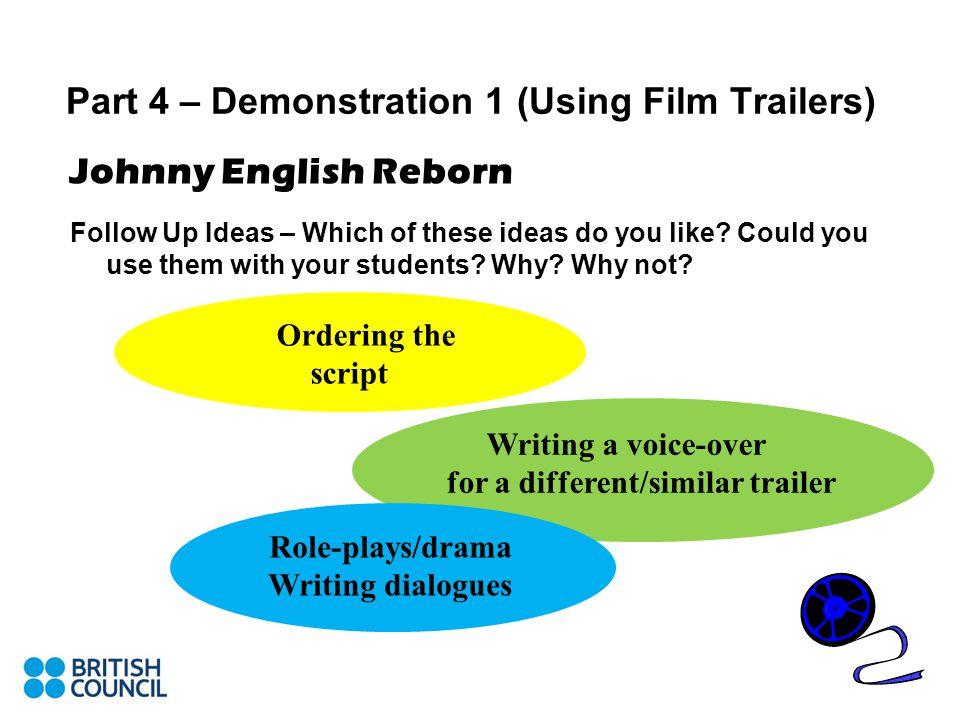 Part 4 – Demonstration 1 (Using Film Trailers) Johnny English Reborn Follow Up Ideas – Which of these ideas do you like.