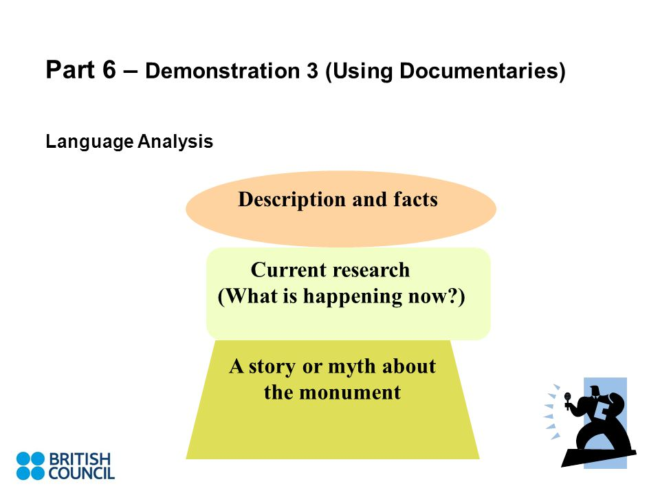 Part 6 – Demonstration 3 (Using Documentaries) Language Analysis Description and facts Current research (What is happening now?) A story or myth about the monument