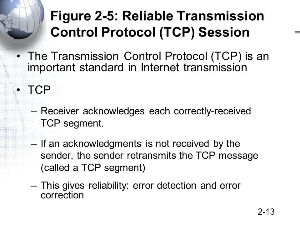 2-13 Figure 2-5: Reliable Transmission Control Protocol (TCP) Session The Transmission Control Protocol (TCP) is an important standard in Internet transmission TCP –Receiver acknowledges each correctly-received TCP segment.