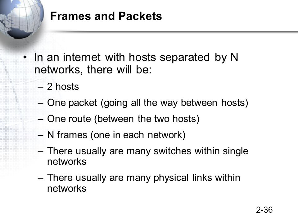 2-36 Frames and Packets In an internet with hosts separated by N networks, there will be: –2 hosts –One packet (going all the way between hosts) –One route (between the two hosts) –N frames (one in each network) –There usually are many switches within single networks –There usually are many physical links within networks