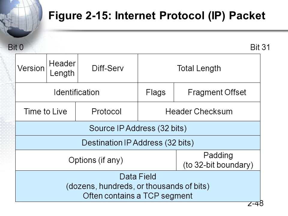 2-48 Figure 2-15: Internet Protocol (IP) Packet Total LengthVersionDiff-Serv Header Length Source IP Address (32 bits) IdentificationFlagsFragment Offset Header ChecksumProtocolTime to Live Bit 0Bit 31 Destination IP Address (32 bits) Options (if any) Padding (to 32-bit boundary) Data Field (dozens, hundreds, or thousands of bits) Often contains a TCP segment