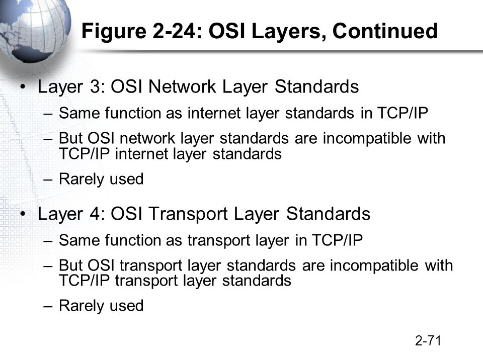 2-71 Figure 2-24: OSI Layers, Continued Layer 3: OSI Network Layer Standards –Same function as internet layer standards in TCP/IP –But OSI network layer standards are incompatible with TCP/IP internet layer standards –Rarely used Layer 4: OSI Transport Layer Standards –Same function as transport layer in TCP/IP –But OSI transport layer standards are incompatible with TCP/IP transport layer standards –Rarely used
