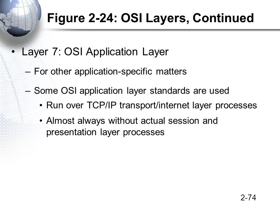2-74 Figure 2-24: OSI Layers, Continued Layer 7: OSI Application Layer –For other application-specific matters –Some OSI application layer standards are used Run over TCP/IP transport/internet layer processes Almost always without actual session and presentation layer processes