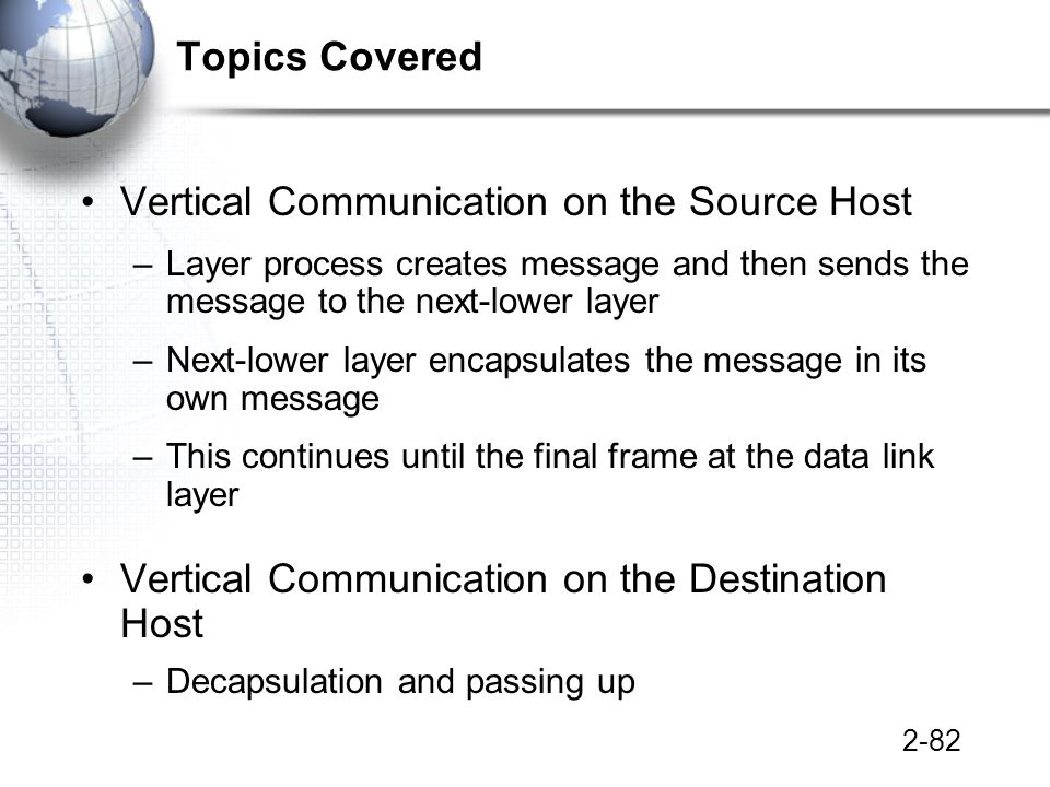2-82 Topics Covered Vertical Communication on the Source Host –Layer process creates message and then sends the message to the next-lower layer –Next-lower layer encapsulates the message in its own message –This continues until the final frame at the data link layer Vertical Communication on the Destination Host –Decapsulation and passing up