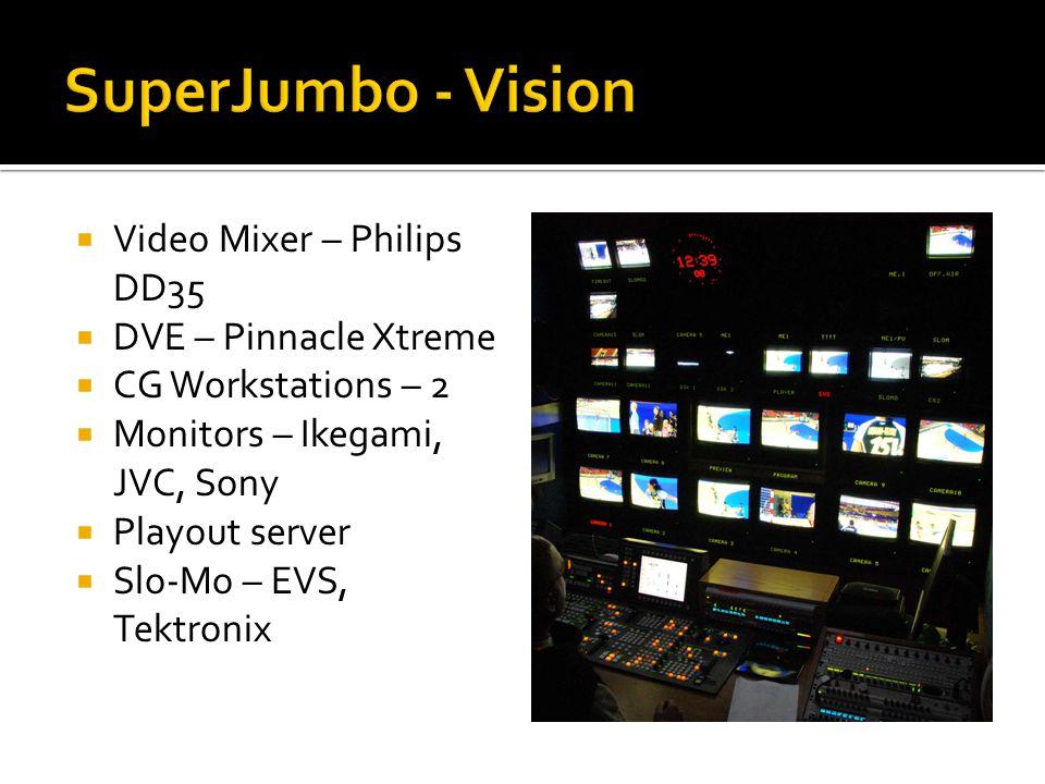  Video Mixer – Philips DD35  DVE – Pinnacle Xtreme  CG Workstations – 2  Monitors – Ikegami, JVC, Sony  Playout server  Slo-Mo – EVS, Tektronix