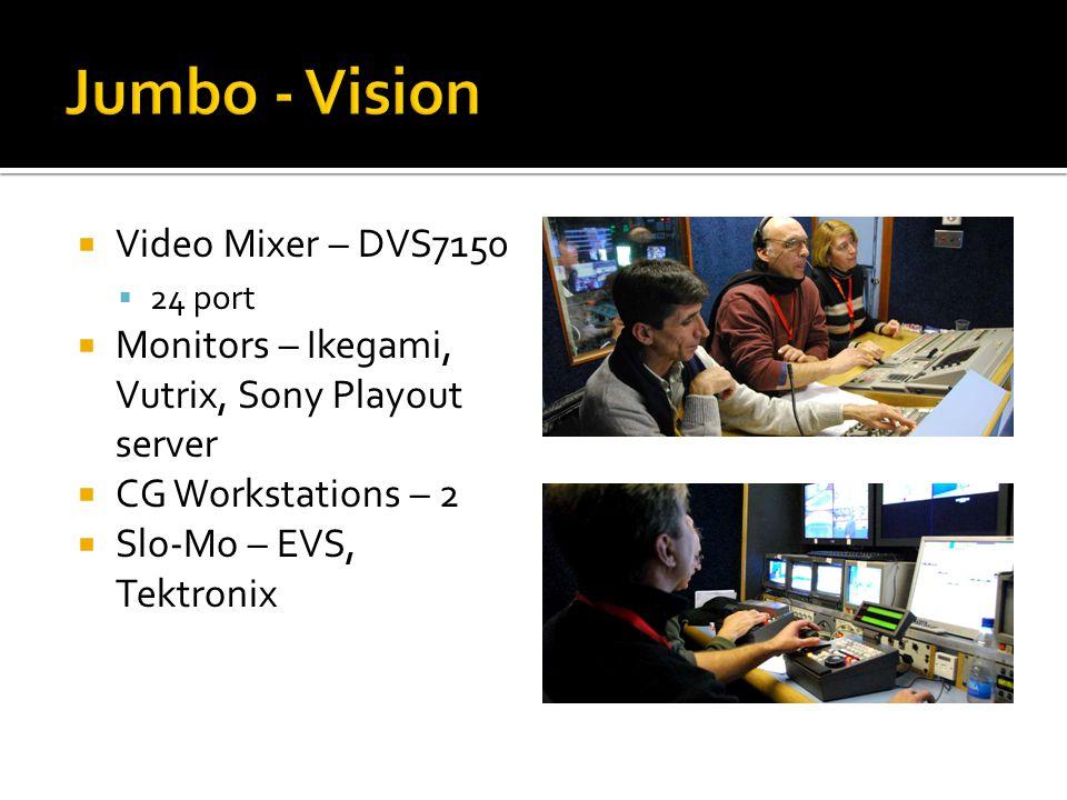  Video Mixer – DVS7150  24 port  Monitors – Ikegami, Vutrix, Sony Playout server  CG Workstations – 2  Slo-Mo – EVS, Tektronix