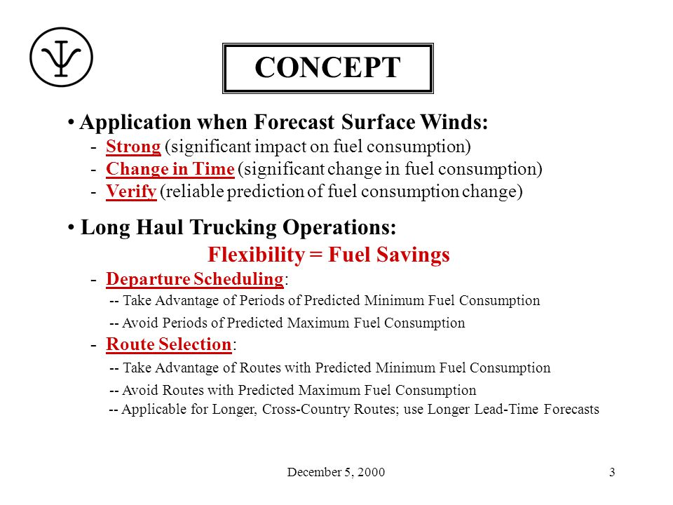 December 5, 20003 Application when Forecast Surface Winds: - Strong (significant impact on fuel consumption) - Change in Time (significant change in fuel consumption) - Verify (reliable prediction of fuel consumption change) Long Haul Trucking Operations: Flexibility = Fuel Savings - Departure Scheduling: -- Take Advantage of Periods of Predicted Minimum Fuel Consumption -- Avoid Periods of Predicted Maximum Fuel Consumption - Route Selection: -- Take Advantage of Routes with Predicted Minimum Fuel Consumption -- Avoid Routes with Predicted Maximum Fuel Consumption -- Applicable for Longer, Cross-Country Routes; use Longer Lead-Time Forecasts CONCEPT