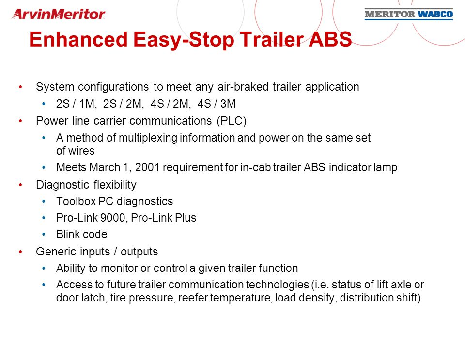 Power Line Communications Background: Requirement: Need to communicate information between tractor and trailer FMVSS 121 requirement for in-cab trailer ABS indicator lamp by March 1, 2001 Fleets strongly oppose changing existing J560 connector or adding another Solution: Power line carrier communications (PLC) Industry group: PLC4Trucks