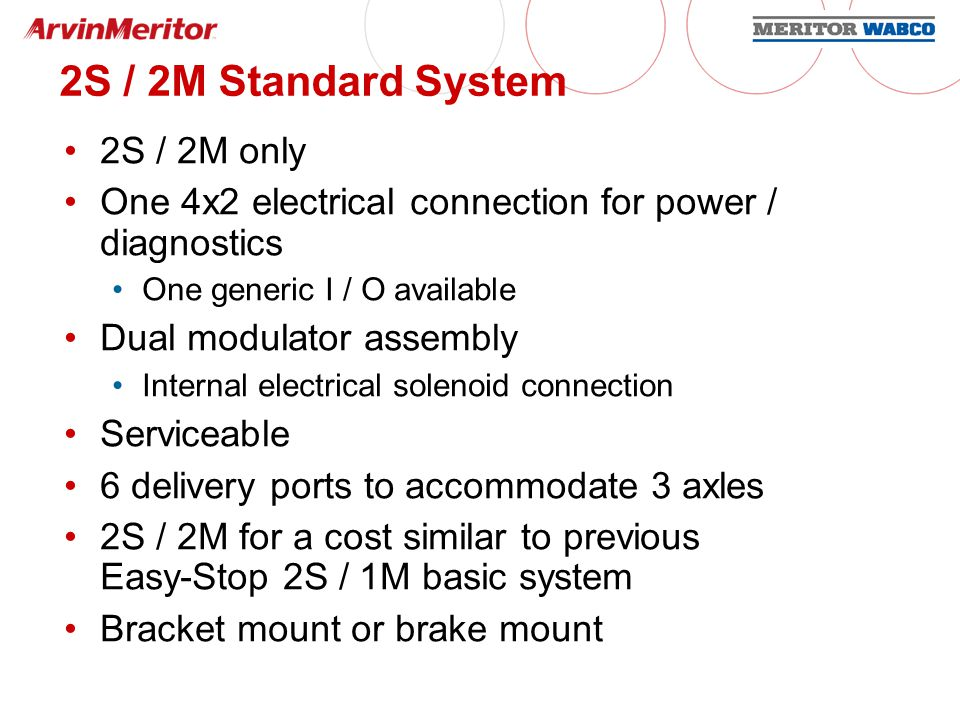 Premium System 2S / 2M, 4S / 2M, and 4S / 3M capabilities 4x2 electrical connectors (2) Combination power / diagnostic connector Additional connector for external modulator on 4S / 3M and / or generic I / O s 5 generic I / O s available Serviceable 6 delivery ports to accommodate 3 axles Dual modulator assembly Internal electric solenoid connection Bracket mount or tank mount