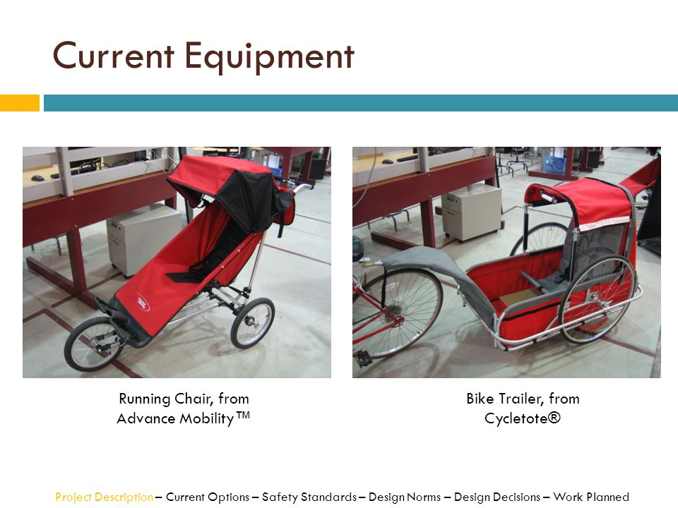 Current Equipment Running Chair, from Advance Mobility™ Bike Trailer, from Cycletote® Project Description – Current Options – Safety Standards – Desig