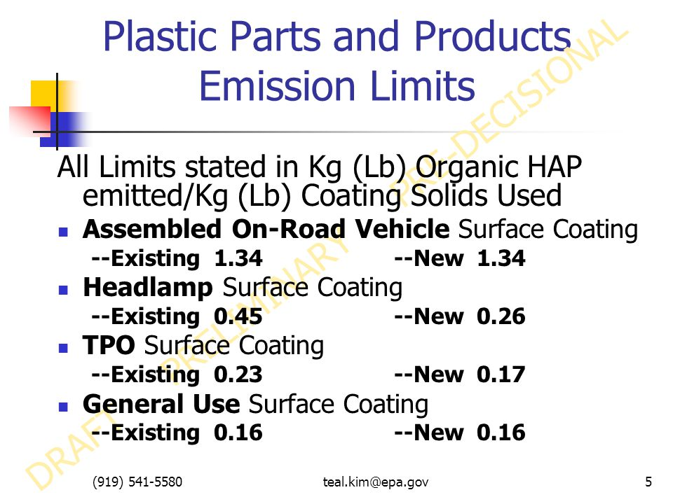 (919) 541-5580teal.kim@epa.gov5 Plastic Parts and Products Emission Limits DRAFT PRELIMINARY PRE-DECISIONAL All Limits stated in Kg (Lb) Organic HAP emitted/Kg (Lb) Coating Solids Used Assembled On-Road Vehicle Surface Coating --Existing 1.34--New 1.34 Headlamp Surface Coating --Existing 0.45--New 0.26 TPO Surface Coating --Existing 0.23--New 0.17 General Use Surface Coating --Existing 0.16--New 0.16