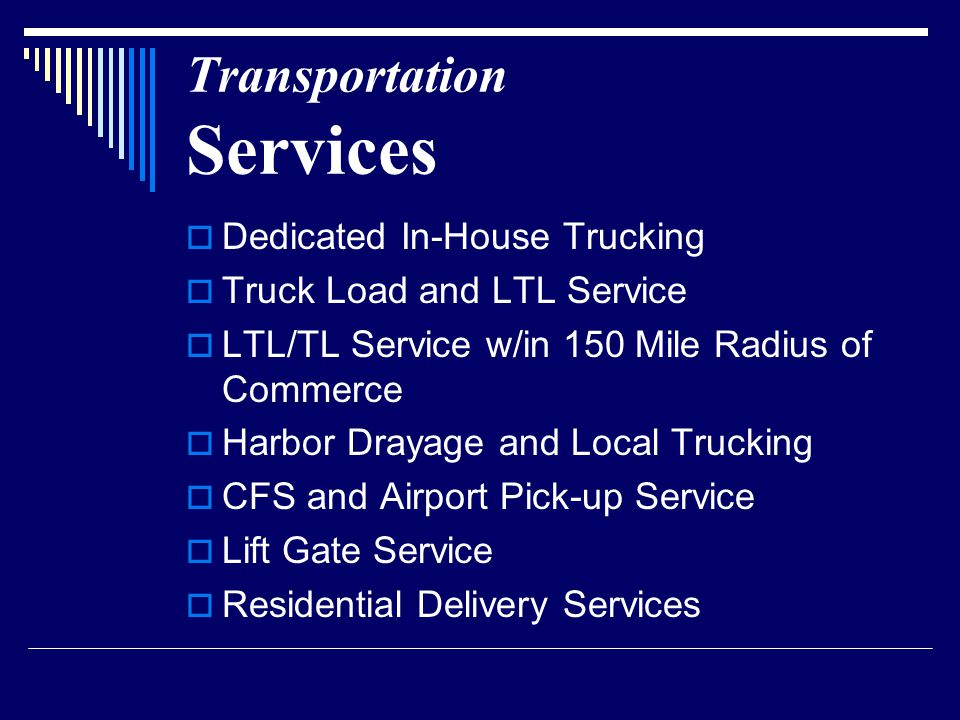 Transportation Equipment  Tractor trailers and Bobtails/Straight Trucks  53' Trailers  Flatbed Equipped with Chains & Binders