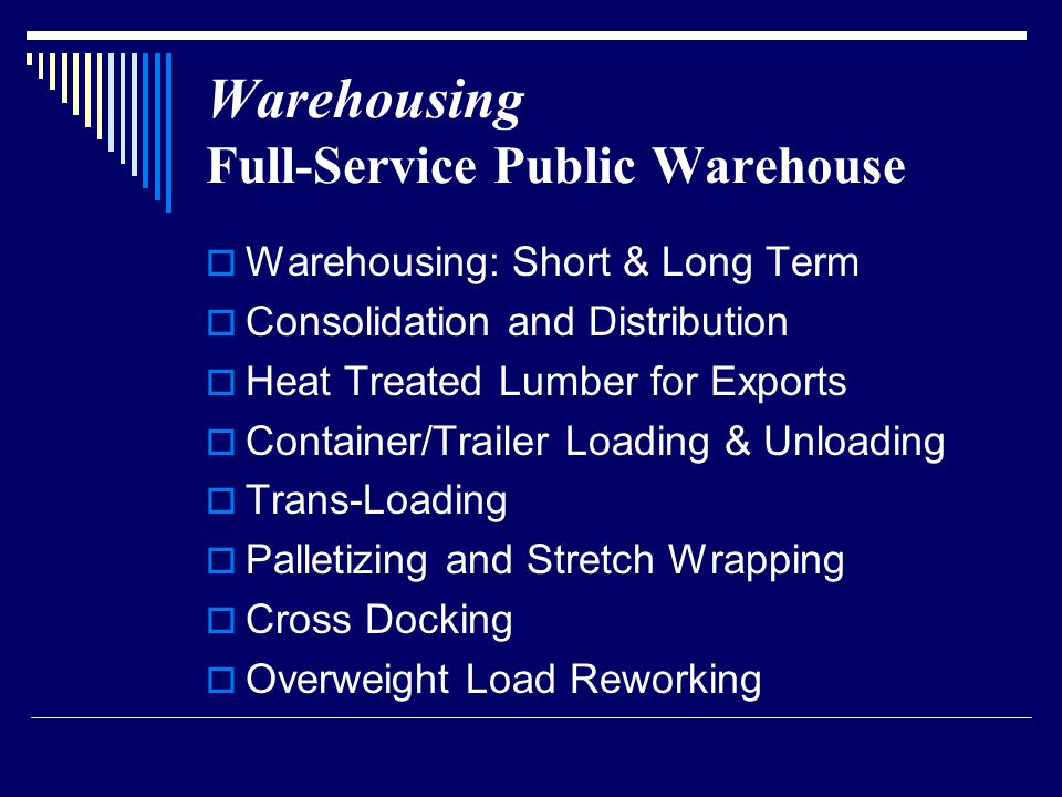 Warehousing Facilities  49,500 Square Feet of Warehousing Space  Modern Industrial Park  18 Dock Level Loading Doors