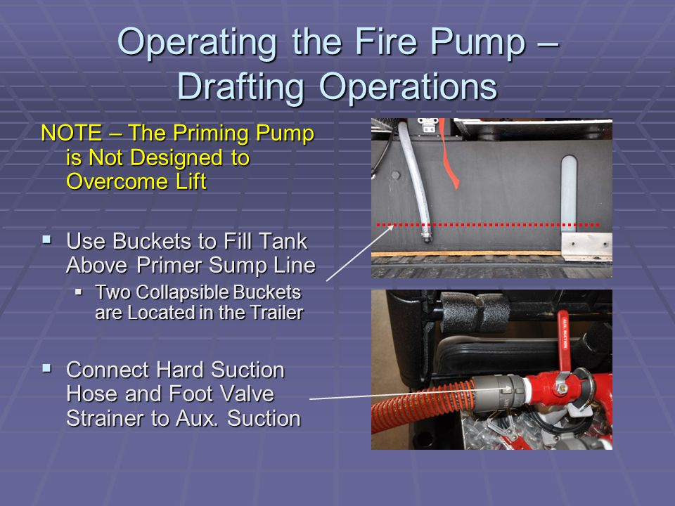 Operating the Fire Pump – Drafting Operations NOTE – The Priming Pump is Not Designed to Overcome Lift  Use Buckets to Fill Tank Above Primer Sump Line  Two Collapsible Buckets are Located in the Trailer  Connect Hard Suction Hose and Foot Valve Strainer to Aux.
