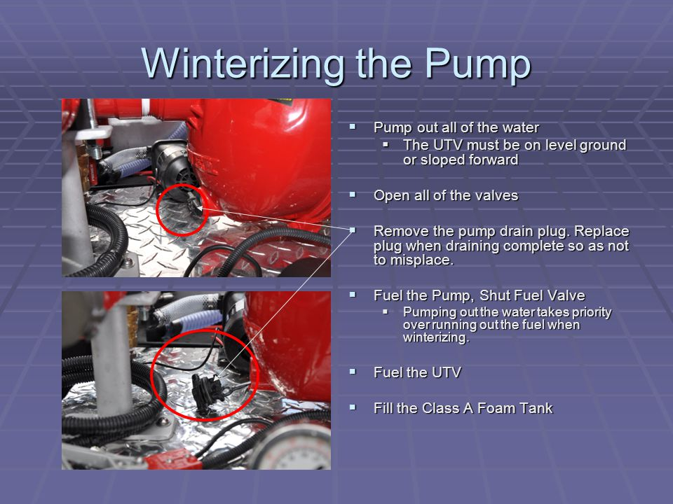 Winterizing the Pump  Pump out all of the water  The UTV must be on level ground or sloped forward  Open all of the valves  Remove the pump drain plug.