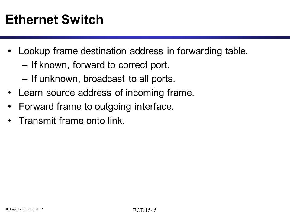 © Jörg Liebeherr, 2005 ECE 1545 Ethernet Switch Lookup frame destination address in forwarding table.