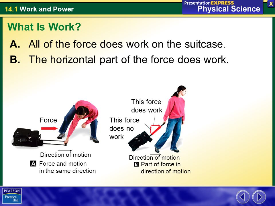 14.1 Work and Power A. All of the force does work on the suitcase. B. The horizontal part of the force does work. What Is Work? Force This force does
