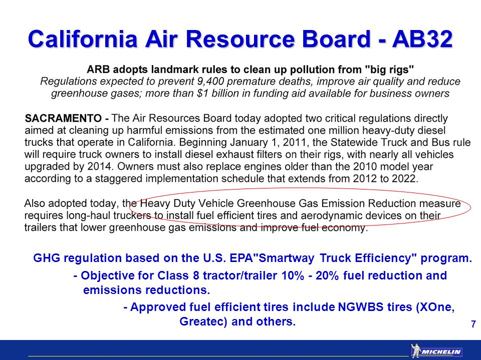 7 California Air Resource Board - AB32 GHG regulation based on the U.S.