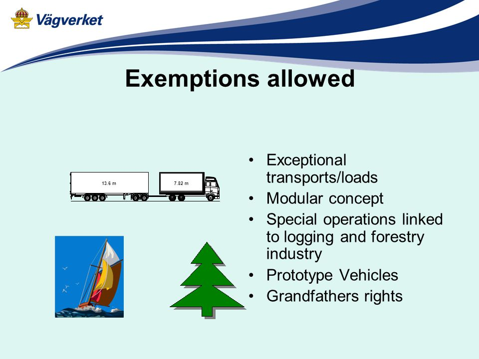 Exemptions allowed Exceptional transports/loads Modular concept Special operations linked to logging and forestry industry Prototype Vehicles Grandfathers rights 7.82 m 13.6 m