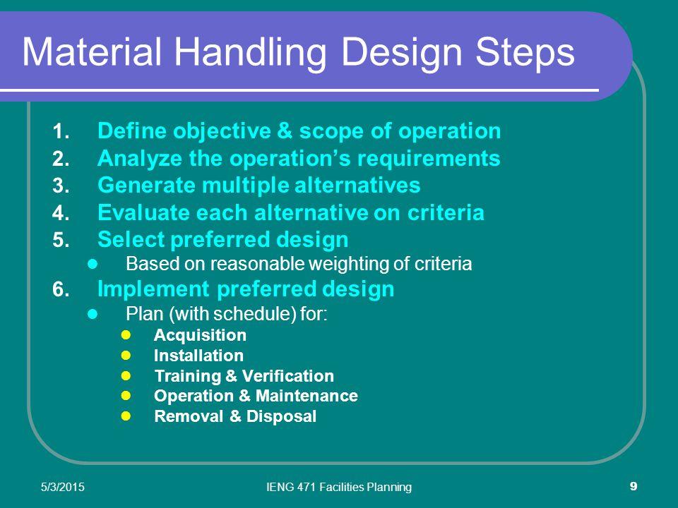 5/3/2015IENG 471 Facilities Planning 9 Material Handling Design Steps 1.