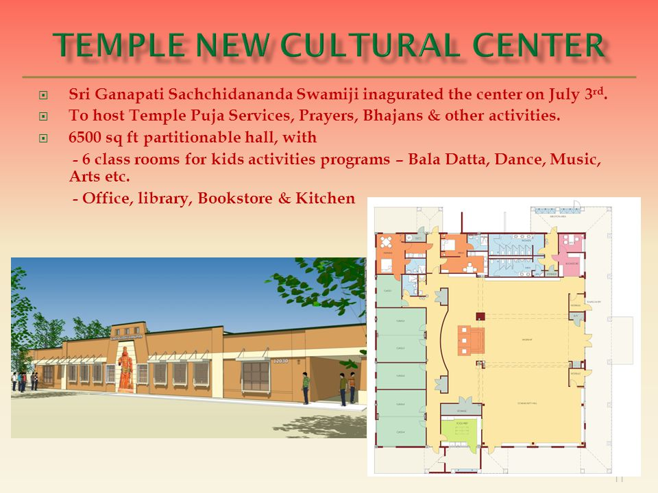 11  Sri Ganapati Sachchidananda Swamiji inagurated the center on July 3 rd.