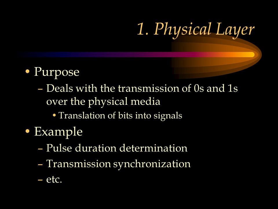 1. Physical Layer Purpose –Deals with the transmission of 0s and 1s over the physical media Translation of bits into signals Example –Pulse duration d
