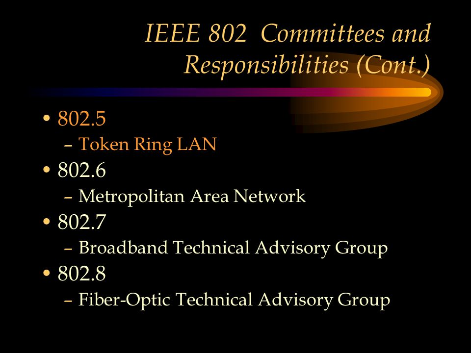 IEEE 802 Committees and Responsibilities (Cont.) 802.5 –Token Ring LAN 802.6 –Metropolitan Area Network 802.7 –Broadband Technical Advisory Group 802.8 –Fiber-Optic Technical Advisory Group