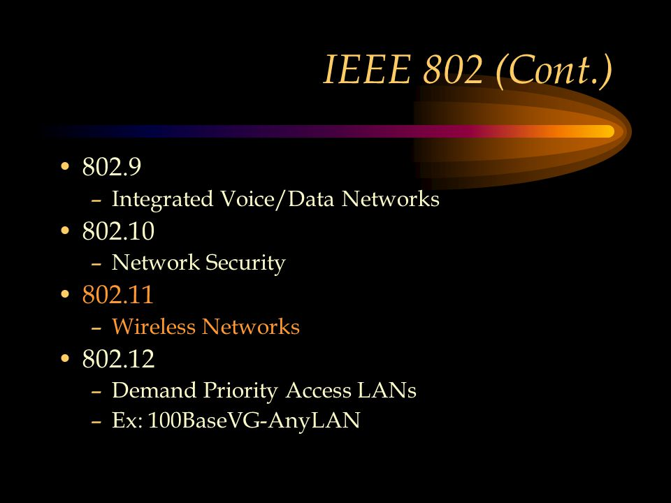 IEEE 802 (Cont.) 802.9 –Integrated Voice/Data Networks 802.10 –Network Security 802.11 –Wireless Networks 802.12 –Demand Priority Access LANs –Ex: 100BaseVG-AnyLAN