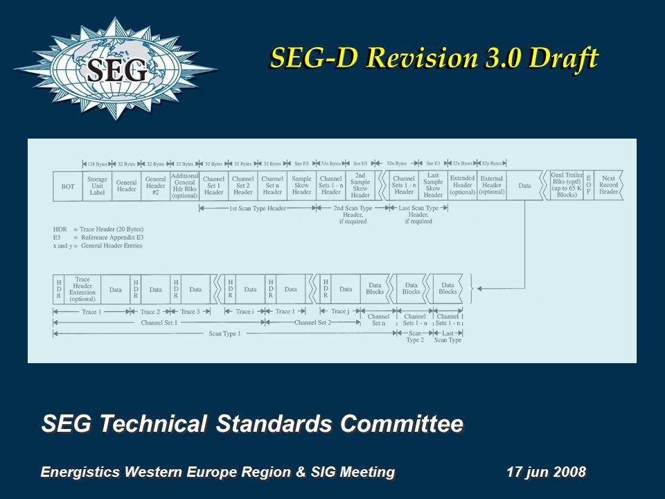 SEG Technical Standards Committee Energistics Western Europe Region & SIG Meeting 17 jun 2008 SEG Technical Standards Committee Energistics Western Europe Region & SIG Meeting 17 jun 2008 SEG-D Revision 3.0 Draft