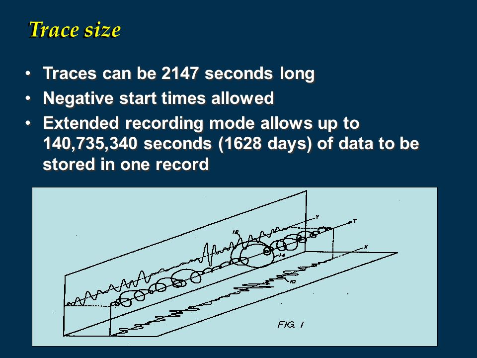 Traces can be 2147 seconds long Negative start times allowed Extended recording mode allows up to 140,735,340 seconds (1628 days) of data to be stored in one record Traces can be 2147 seconds long Negative start times allowed Extended recording mode allows up to 140,735,340 seconds (1628 days) of data to be stored in one record Trace size