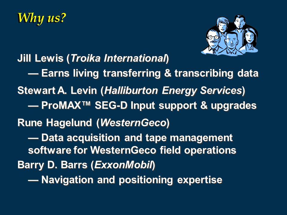 Jill Lewis (Troika International) — Earns living transferring & transcribing data Stewart A.
