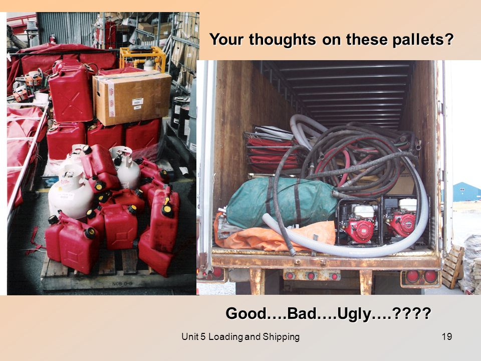 Unit 5 Loading and Shipping19 Your thoughts on these pallets Good….Bad….Ugly….