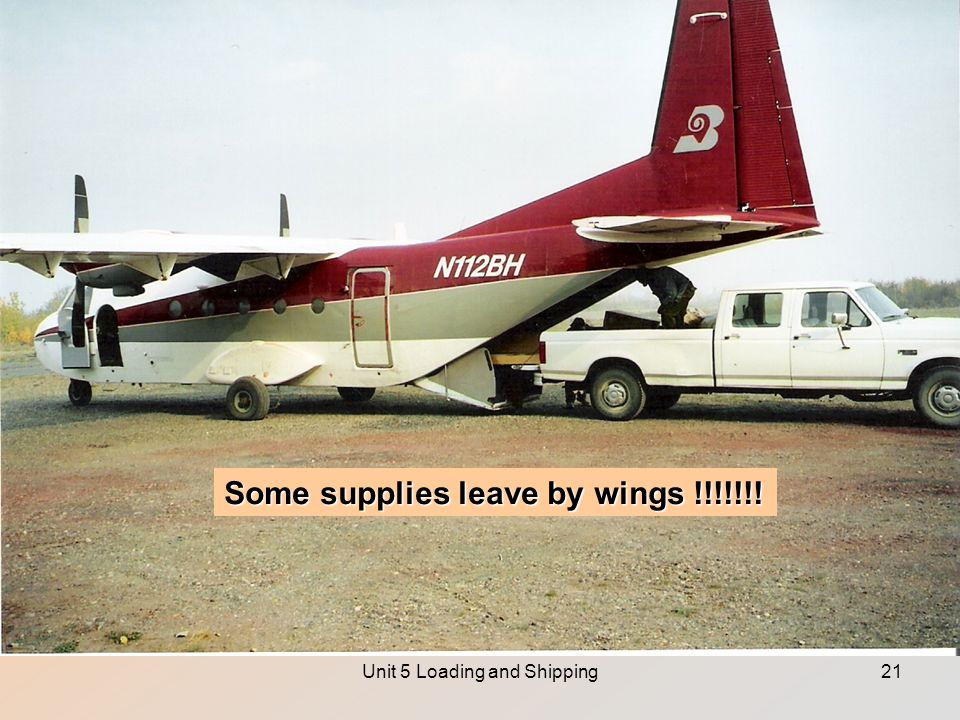 Unit 5 Loading and Shipping21 Some supplies leave by wings !!!!!!!