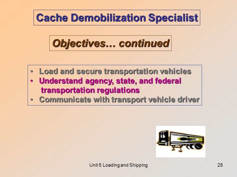 Unit 5 Loading and Shipping25 Cache Demobilization Specialist Objectives… continued Load and secure transportation vehiclesLoad and secure transportation vehicles Understand agency, state, and federalUnderstand agency, state, and federal transportation regulations transportation regulations Communicate with transport vehicle driverCommunicate with transport vehicle driver