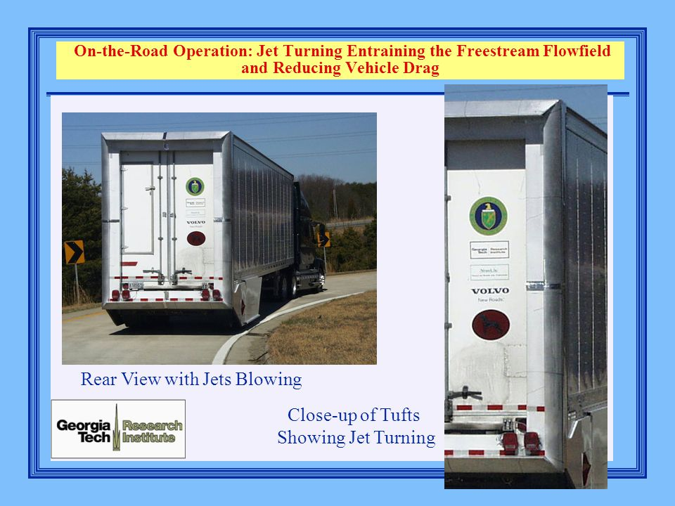 On-the-Road Operation: Jet Turning Entraining the Freestream Flowfield and Reducing Vehicle Drag Rear View with Jets Blowing Close-up of Tufts Showing