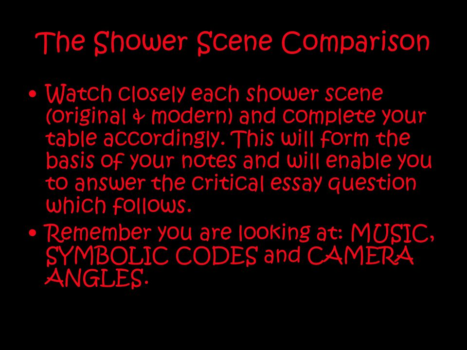 The Shower Scene Comparison Watch closely each shower scene (original & modern) and complete your table accordingly. This will form the basis of your