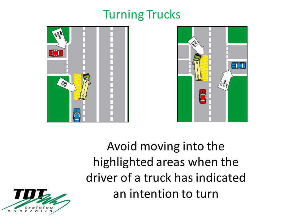 Avoid moving into the highlighted areas when the driver of a truck has indicated an intention to turn Turning Trucks