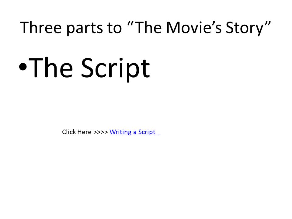 Three parts to The Movie's Story The Script Click Here >>>> Writing a ScriptWriting a Script