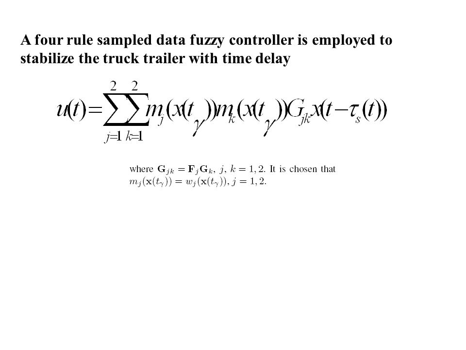 A four rule sampled data fuzzy controller is employed to stabilize the truck trailer with time delay