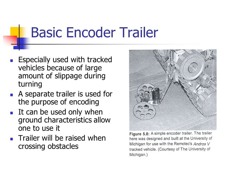 Basic Encoder Trailer Especially used with tracked vehicles because of large amount of slippage during turning A separate trailer is used for the purp