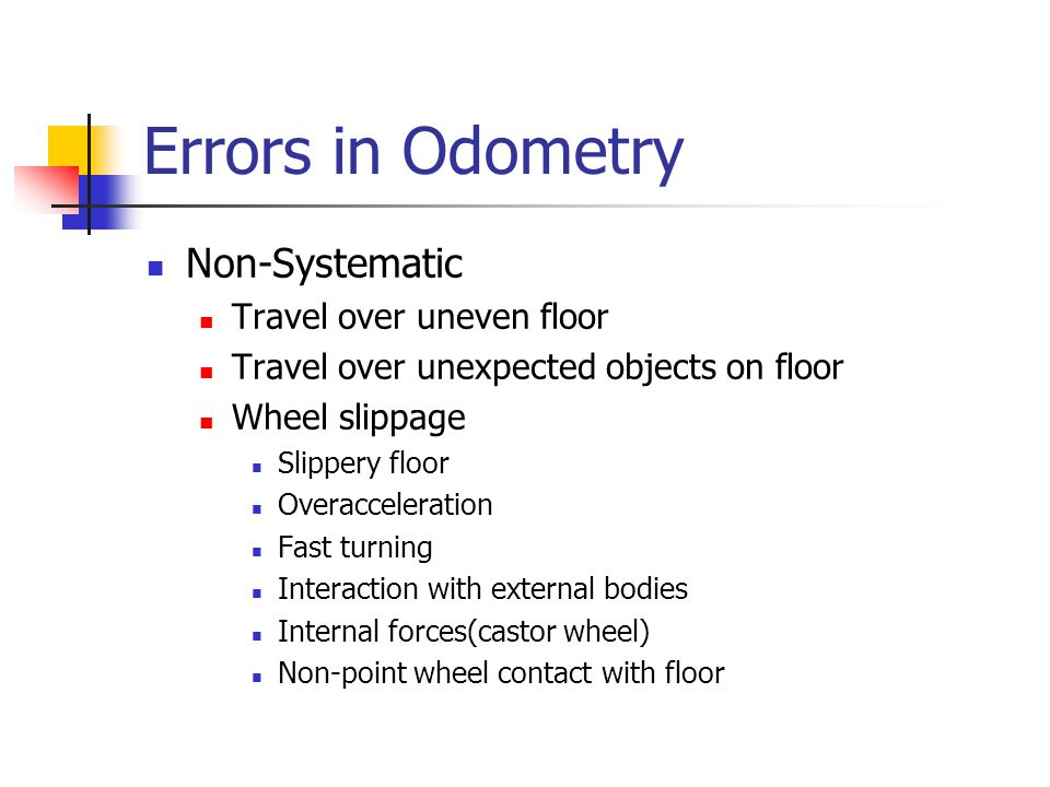Errors in Odometry Non-Systematic Travel over uneven floor Travel over unexpected objects on floor Wheel slippage Slippery floor Overacceleration Fast