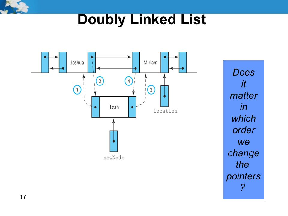 17 Doubly Linked List Does it matter in which order we change the pointers ?