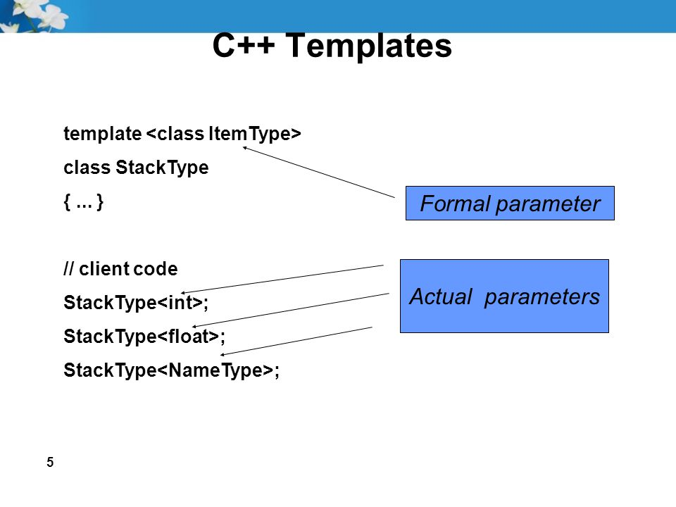 5 C++ Templates template class StackType {... } // client code StackType ; Formal parameter Actual parameters