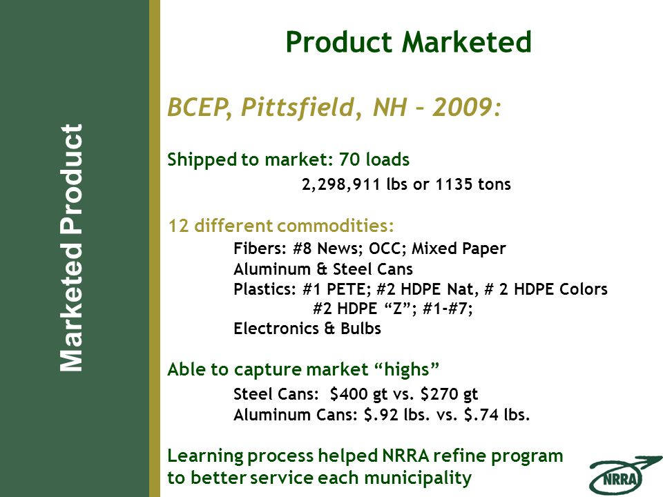BCEP, Pittsfield, NH – 2009: Shipped to market: 70 loads 2,298,911 lbs or 1135 tons 12 different commodities: Fibers: #8 News; OCC; Mixed Paper Aluminum & Steel Cans Plastics: #1 PETE; #2 HDPE Nat, # 2 HDPE Colors #2 HDPE Z ; #1-#7; Electronics & Bulbs Able to capture market highs Steel Cans: $400 gt vs.