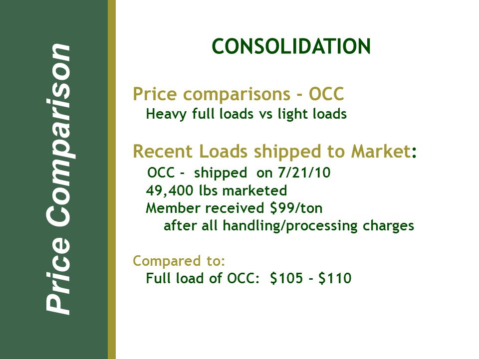 Price comparisons - OCC Heavy full loads vs light loads Recent Loads shipped to Market: OCC - shipped on 7/21/10 49,400 lbs marketed Member received $