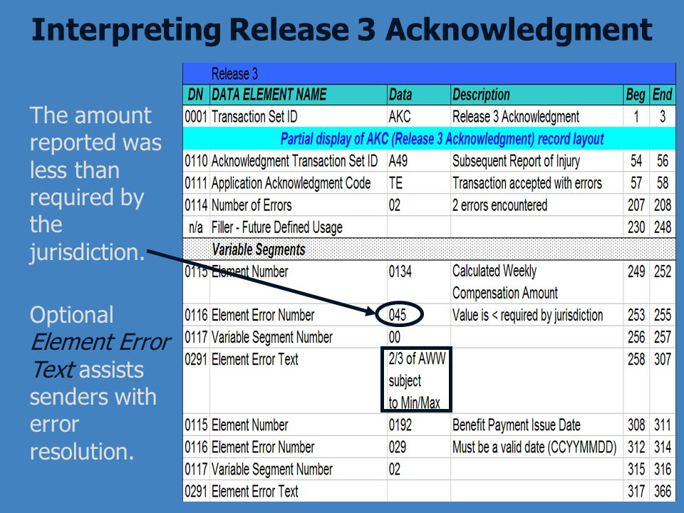 Optional Element Error Text assists senders with error resolution. The amount reported was less than required by the jurisdiction. Interpreting Releas